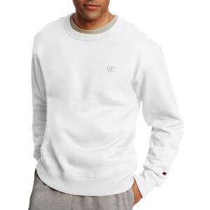 45527f85abe6 2 Champion Men s PowerBlend Fleece Pullover Crews S0888 S White for ...