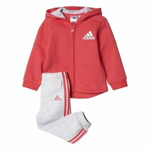 Adidas Infant Sports Terry Hooded Full Zip Tracksuit Kids Children ... fd37248b43