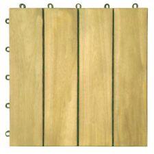Vifah V488 Interlocking Acacia Plantation Hardwood Deck Tile 4-Slat Style Teak