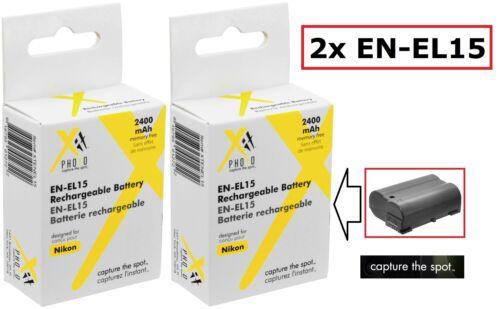 2-Pcs Super Alta Capacidad EN-EL15 LI-ION Batería para Nikon D7500 D500