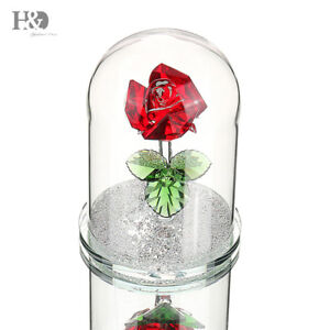 New-Crystal-Red-Rose-Figurines-Home-Wedding-Mother-039-s-Day-Gift-Ornaments-Decor
