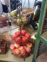 3 Tier Fruit Basket Antique Bronze Metal Paloma Free Standing Market Farmhouse