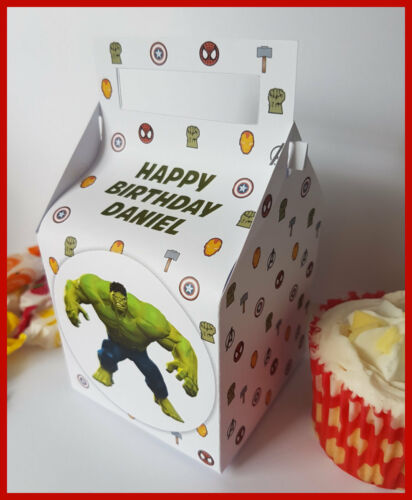 Favour Boxes Marvel Avengers Personalised Cupcake 5 Designs Gift