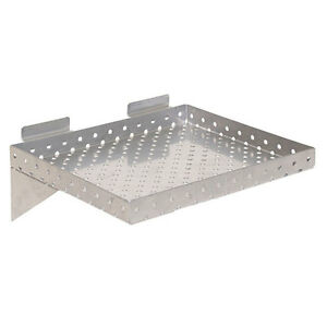 Lot-of-2-New-Retail-Perforated-Silver-Metal-Slatwall-Shelves-12-034-w-x-10-034-d-x-1-034-h