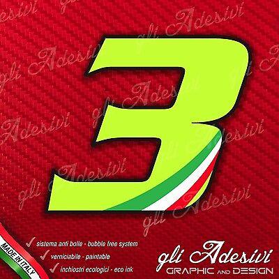 Adesivo Stickers Numero 3 Moto Auto Cross Gara Verde Acido Kawa & Tricolore Tempi Puntuali
