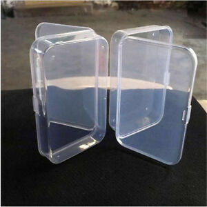 2Pcs-Plastic-Transparent-Fine-Storage-Box-Collection-Container-Case-with-Lid-New
