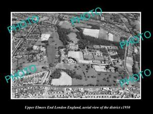 OLD-LARGE-HISTORIC-PHOTO-UPPER-ELMERS-END-LONDON-ENGLAND-AERIAL-VIEW-c1950