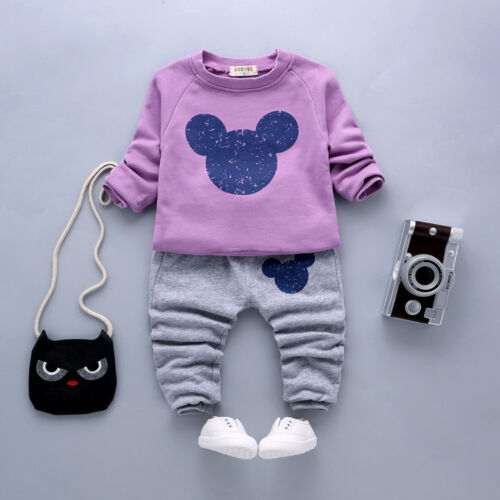 2PC Baby Clothes Boys Girls Outfit Long Sleeves Outfits Kids Infant Tops Pants