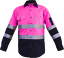 Hi-Vis-Work-Shirt-Light-Cotton-Drill-Safety-155GSM-Vents-Back-Cape-3M-Tape thumbnail 3