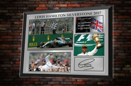 "Lewis Hamilton Silverstone 2017 Framed Canvas Print Signed ""Great GiftSouvenir"""