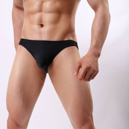 Mens Underwear Underpants Briefs Seamless Ice Silk Breathable Bulge Panty Summer