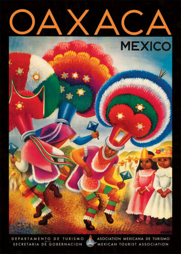 Volcano Oaxaca Bullfighting Torros Mexico Poster A2 Vintage  Travel Posters