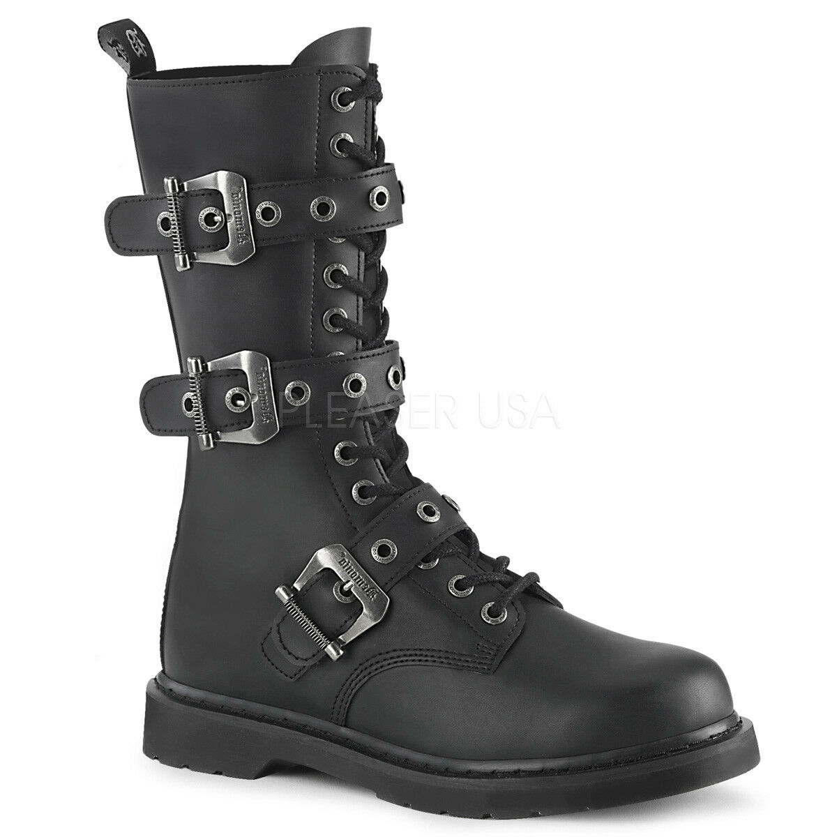 Demonia para Hombre Gotico Goth Punk Rock Biker Negro botas De Combate Perno - 330