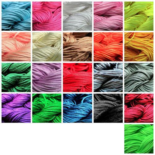 12.5 Metre's Nylon Braided Braiding Cord Thread 2mm Kumihimo Macrame PICK COLOUR