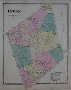 Lyman Maine Map.Original 1872 Map Lyman York County Maine Shakers Schools Railroad