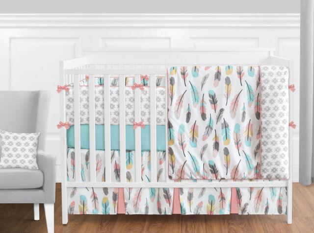 Sweet Jojo Modern Pink Gray Yellow Aqua Feather S 9pc Crib Baby Bedding Set