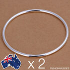 2 x 925 Sterling Silver ~ Solid Thin Bangle ~ Classic Women's 2MM Round Bracelet