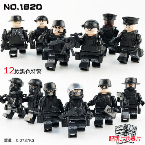 12 Set SWAT POLICE Military figures Weapons Army Soldier  Fit Lego Toys