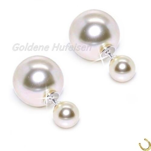Creme Vanille Doppelperlen Ohrstecker Echt 925 Silber Ohrringe Doppel Perlen