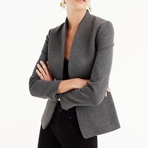 NWT J Crew Going-Out Blazer Heather Gray Stretch Twill Women's Petite Size 2P