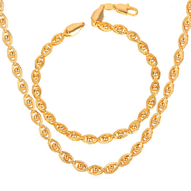 Unique Design Men S Cool Chain Necklace Bracelet 18k Gold Plated