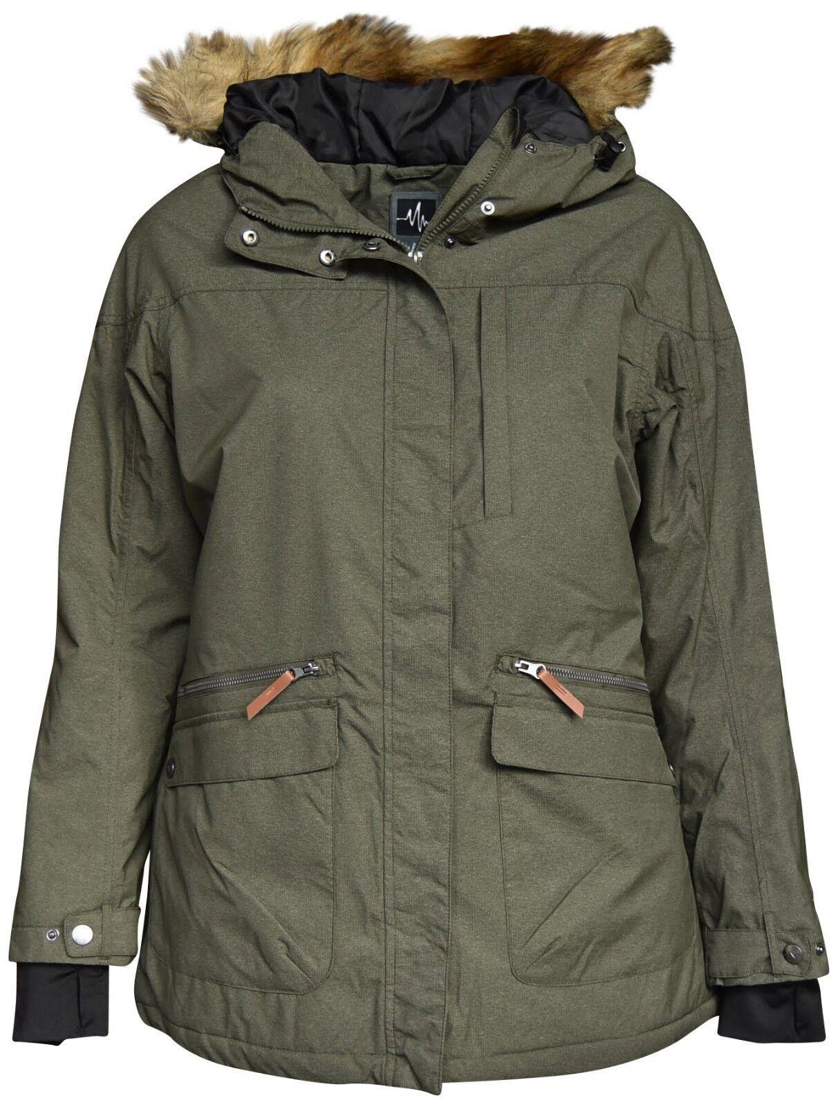 New Pulse Women's Plus Size 1X 2X 3X Insulated Parka 3 4 Societe Coat Olive  199