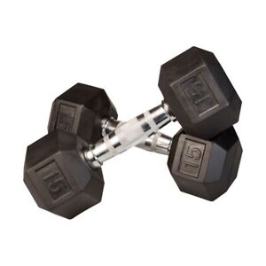 CAP Neoprene Hex Dumbbell Set Pair of Two 15 lb Pound Weights IN HAND SHIPS FAST