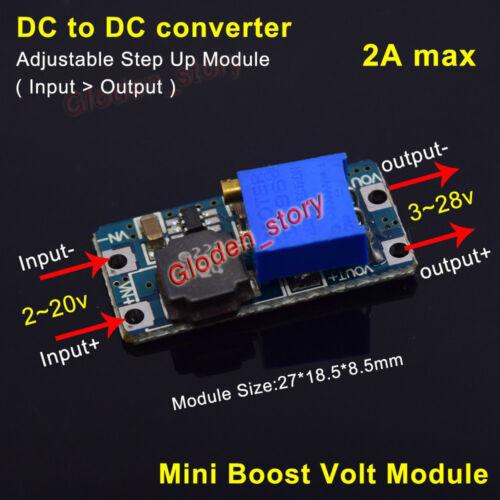 2A Mini DC-DC Boost Step up Adjustable Converter 2-20V to 3-28V 5V 6V 9V 12V 24V