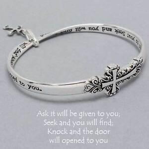 Image Is Loading Ask Given Seek Bangle Bracelet Cross Charm Silver