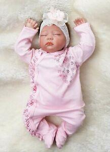 68 Strampler Babyanzug  Overall Lila Mädchen Baby Gr