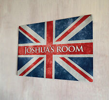 Personalised Kids room Union Jack sign A4 metal Door Plaque