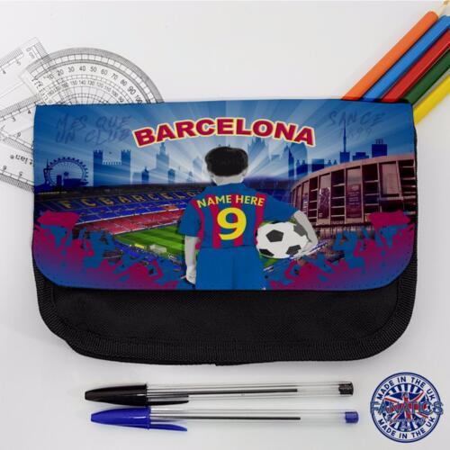 Barcelona School Pencil Case Boys Football Stationary Bag *Personalised* CF62