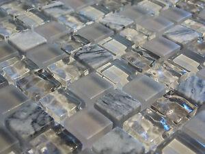 Glasmosaik naturstein marmor fliesen grau matt glänzend effekt