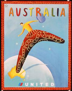 2-Original-Airline-Travel-Posters-UNITED-Australia-SAN-FRANCISCO-Lot-415
