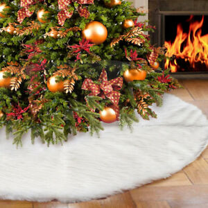 White-Christmas-Tree-Skirt-Plush-Mat-Party-Snow-Mat-Cover-Home-Party-Decor-Large