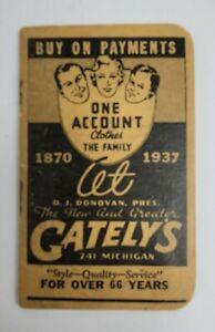 Vintage 1937 Gatelys Clothing Store Detroit Michigan Mini Notebook Michigan Ave