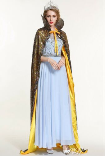 """Peacock Scales Sequin Cloak Coat 71/"""" Satin Poncho Cape Bridal Pageant Party Prom"""