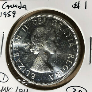 1959-Canada-1-Dollar-Silver-Coin-UNC-BU-Condition-1