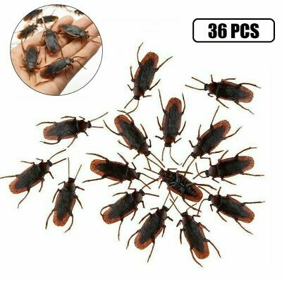 10PCS Realistic Rubber Fake Cockroaches Large Creepy Cock Roach Bugs Prank Gag ^