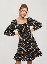 Miss Selfridge Womens Black Ditsy Poplin Ruched Mini Dress Long Sleeve V-Neck