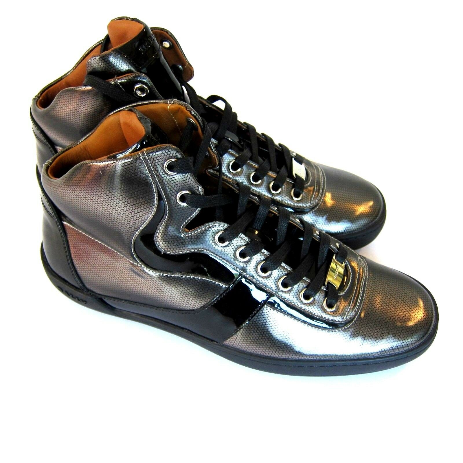 J-3478200 New Bally Eroy Hi Top Metallic Sneakers shoes Size US 9.5 Marked 8.5