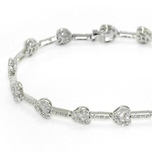 5-50-TCW-Round-amp-Baguette-Diamonds-Heart-Link-Bracelet-In-14k-White-Gold-Size-7-034
