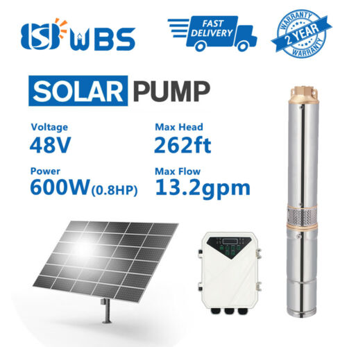 """3/"""" DC Deep Well Solar Water Pump 48V 600W Bore Hole Submersible MPPT Controller"""