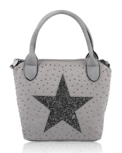 New Women/'s Glitter Star Canvas Ladies Diamante Handbag Crossbody Shoulder Bag U