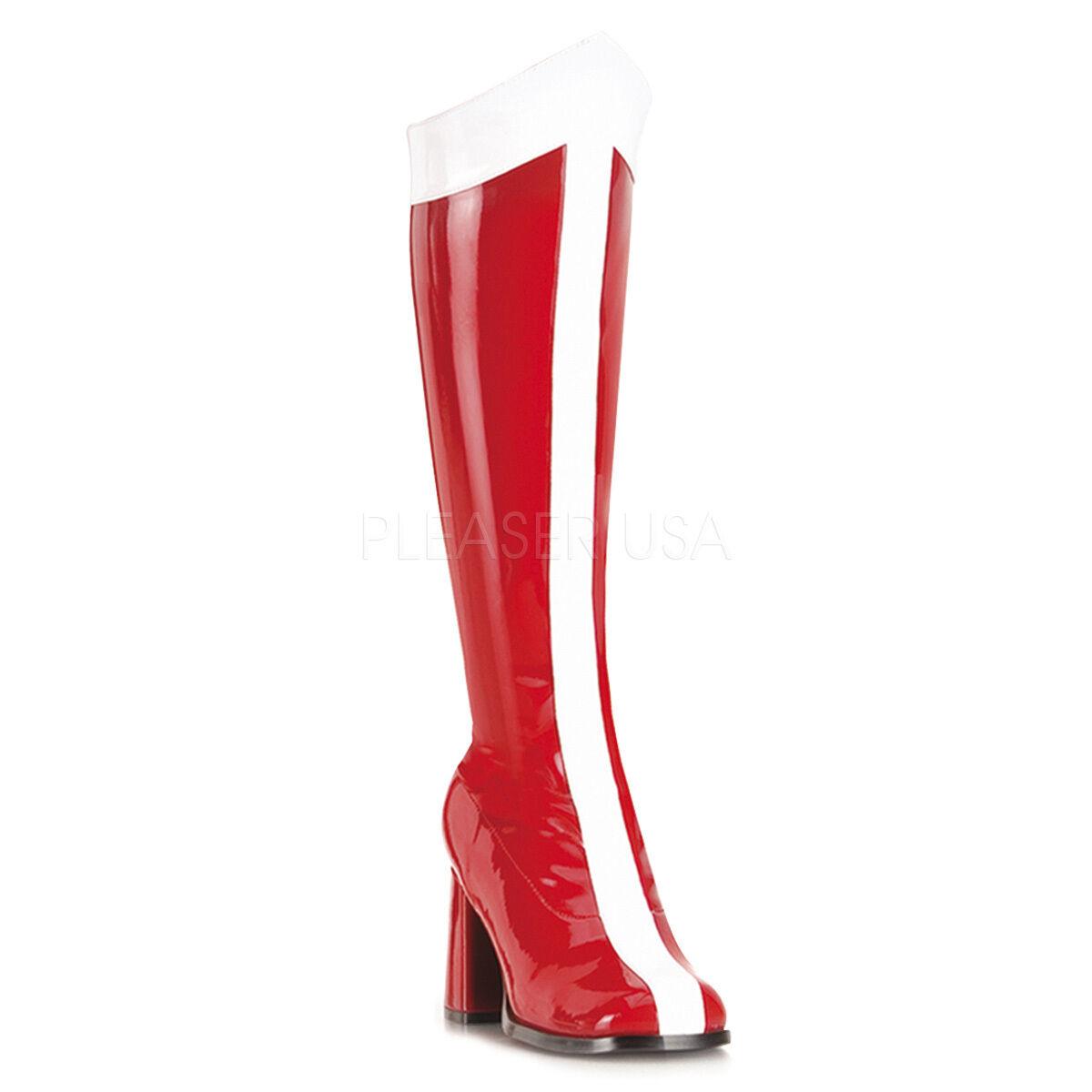 PLEASER FUNTASMA GOGO 305 FANCY DRESS WONDER WOMAN LOW HEEL KNEE Stiefel HERO