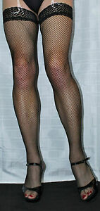 3Pairs Extra Long Black Seamed Fine Fishnet Luxury Lace Top Nylon/Lycra Holdup Women's Stockings & Thigh-High Socks