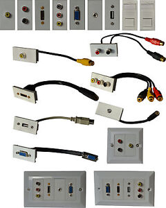 Prise murale plaque frontale multimédia pour HDMI VGA Phono RCA USB RJ45