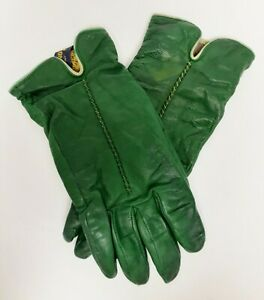 Vintage-G-MARINO-Leather-Gloves-Cashmere-Lined-Italy-Green-Size-7-Distress