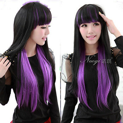 Black Purple Gradient Color Hair Costume Lolita Full Wig Long Straight Ombre Wig