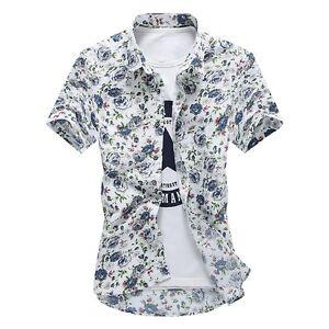 Mens-Summer-Hawaiian-Floral-Print-Fashion-Short-Sleeve-Shirt-Flower-T-Shirt-Tops
